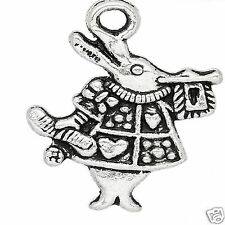 10 x Tibetan Silver Rabbit Charms Pendant Alice in Wonderland