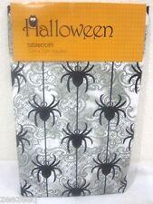 "Halloween Tablecloth Spiders Gray Black Peva Vinyl 52"" x 70"" Oblong"