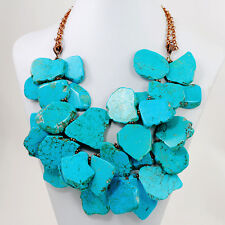 "Ny6design Multi-Strands Blue  Magnesite Turquoise Nugget Copper Necklace 19.5""*"
