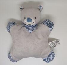 Doudou semi plat ours BOUT'CHOU Monoprix gris bandana rayure bleu rayé grelot