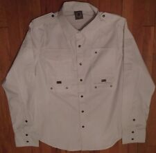 """NWT Blac Label, Edgy Design, White,  Embroidered Graphic: """"METAL"""" Sz XL (LS-506)"""