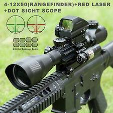 4-12X50EG Hunting Rangefinder Reticle Riflescope w/ Red Laser Sight &Dot Sight