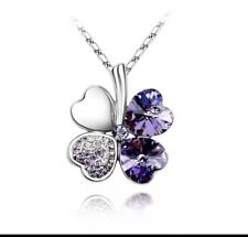 18k Gold Plated Four Leaf Clover Necklace Featuring Swarovski Crystal Jewellery