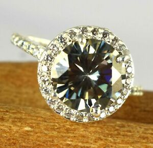 Exclusive 6.02 Ct Gray Diamond Solitaire With Accents Halo Ring-Excellent Luster