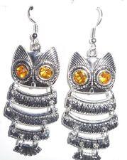santa Owl Brass Earring Hooks Antique silver gold  eyes