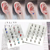 12 Pairs Crystal Rhinestone Ear Studs Magnetic Clip Non Piercing Earrings Gifts