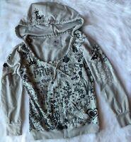 Walt Disney Parks Size M Womens PRINCESS GLITTER JEWELED Hoodie Sweatshirt Gray