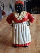 Antique Vintage 11� Black Americana Aunt Cast Iron Bank