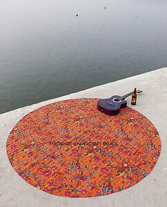 Indian Bird Floral Round Kantha Quilt Bohemian Picnic Beach Throw Rug Handmade