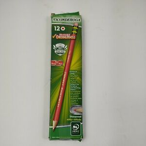 Ticonderoga Erasable Checking Pencils with Eraser Carmine Red Lead Dozen 2.6 mm