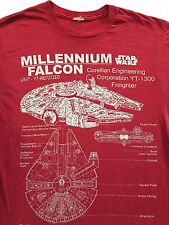 Star Wars MILLENNIUM FALCON Schematic Blueprint Diagram Red T-Shirt Sz. M