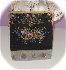 Gorgeous! Antique Victorian *FLORAL* Beaded ~Bag/PURSE~ Large