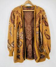 ✨ Vintage ESCADA Oversized Boho Cardigan M-L Sweater Paisley Print Golden Yellow
