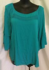 """AUTOGRAPH JADE GREEN """"PEASANT"""" EMBROIDERED TOP SZ 18-NEW STOCK JUST IN!!!!"""