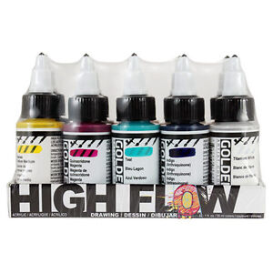 Golden High Flow Acrylic Ink / Liquid Fluid Paint 10 x 30ml Drawing Colour Set