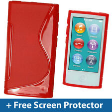 Red Dual Tone TPU Gel Case for New Apple iPod Nano 7th Generation 7G Cover Shell