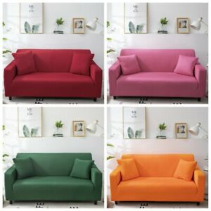1/2/3/4 Seater Plain Elastic Soft Sofa Couch Cover Stretch Slipcover Protector