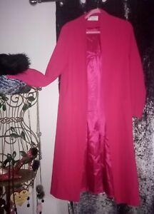 Helene Berman Edge To Edge Long Fuchsia Fully Lined Coat With Pockets Free P