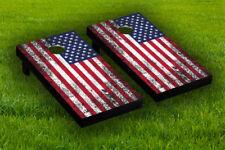 Rustic American Flag Cornhole Board Wraps Laminated Sticker Set Skin Decal
