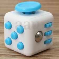 Stress Relief Focus 6-side Figet Magic Cube Dice Toy For Adults Kids White&Blue