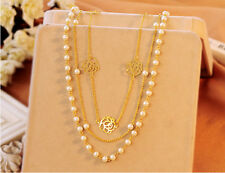 Roses Long Section Multi-layer Pearl Necklace Sweater Chain Prom Party Gift N54