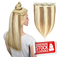 Highlight Clip in 100% Remy Human Hair Extensions 1/2Full Head Long Hairpiece 18