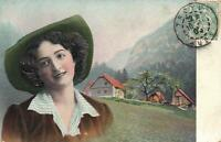 1905 EMBOSSED ORIGINAL PHOTO PRETTY YOUNG FRENCH LADY in ALPS POSTCARD