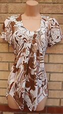 SALOOS WHITE BROWN FLORAL LYCRA SUMMER BAGGY BLOUSE TUNIC TOP CAMI S 8 10