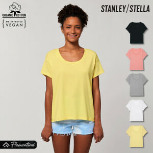 Womens Organic Cotton Scoop Neck Relaxed T-Shirt Stanley Stella Dropped Shoulder