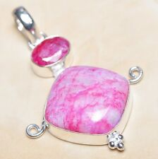 "Handmade Cherry Ruby Natural Gemstone 925 Sterling Silver Pendant 2.25"" #P03305"