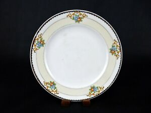 """Meito China Dinner Plate, 9.75"""", Hand Painted Floral, Pale Yellow Band, Japan"""