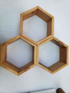 Set of 3 Hexagon Honeycomb Wall Shelves Early American Stain