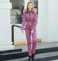 Womens Fashion Fur Hooded Padded Jacket Pants One Piece Warm Jumpsuit Skiing 302