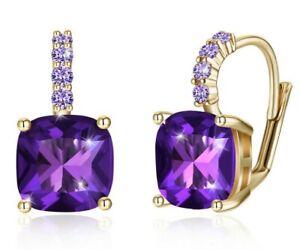 Purple Amethyst Leverback Silver Stud Earrings Round  February