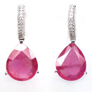 NATURAL 11 X 14 mm. RED RUBY & WHIYE CZ 925 STERLING SILVER EARRINGS