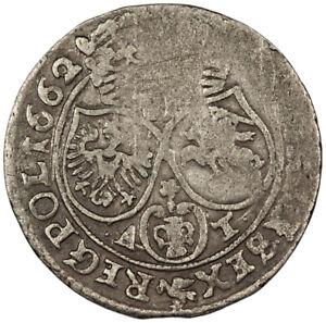1662 Poland 6 Groschen ~ KM#91 Johann Casimir ~ Hammered Silver
