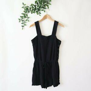 Madewell Women's Sleeveless Side Button Drawstring Romper Playsuit S Small Black