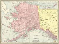 1914 Antique ALASKA MAP Vintage Map of Alaska Gallery Wall Art #5611