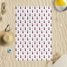 Large Pink Flamingo Pineapple Microfiber Beach Towel White and Pink 140 X 70cm