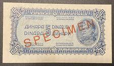 1944 YUGOSLAVIA 5 Dinara SPECIMEN Banknote Uncirculated