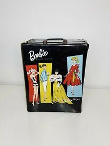 Barbie Black Vinyl Doll Case Ponytail Mattel Inc 1961 travel closet Vintage Rare