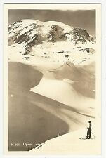 "RPPC, Lone skier above timberline ""Open Territory in Spring..."", Mt. Rainier, WA"