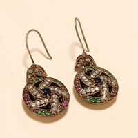 Natural Emerald Ruby Sapphire Earrings 925 Sterling Silver Statement Jewelry New