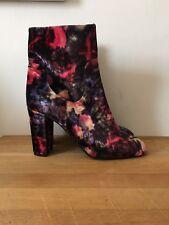 L.K.Bennett Velvet Floral Printed Heeled Boots - Size 41