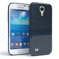 Schutz Hülle für Samsung Galaxy S4 Mini Brushed Cover Handy Case Dunkelblau