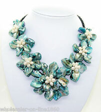 """Fashion Handmade Freshwater Pearl Blue Sea Shell Flower Leather Necklace 18""""AAA"""