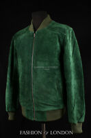 Men's 70'S BOMBER Leather Jacket Green Pilot Aviator Style Suede Leather Jacket