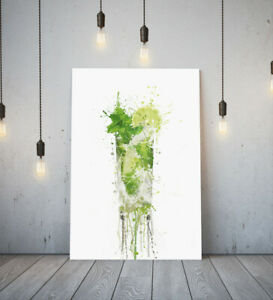 MOJITO COCKTAIL -DEEP FRAMED CANVAS WALL SPLASH ART PICTURE PAPER PRINT- GREEN