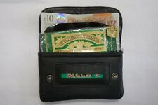 Soft Leather Tobacco Pouch Organizer with Space for change Paper Lighter Black