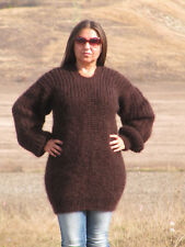 MOHAIR Hand Knitted BROWN Sweater Ribbed Pullover Handmade Soft Fluffy